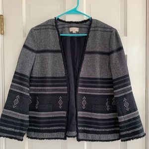 Super cute LOFT navy/white patterned jacket.